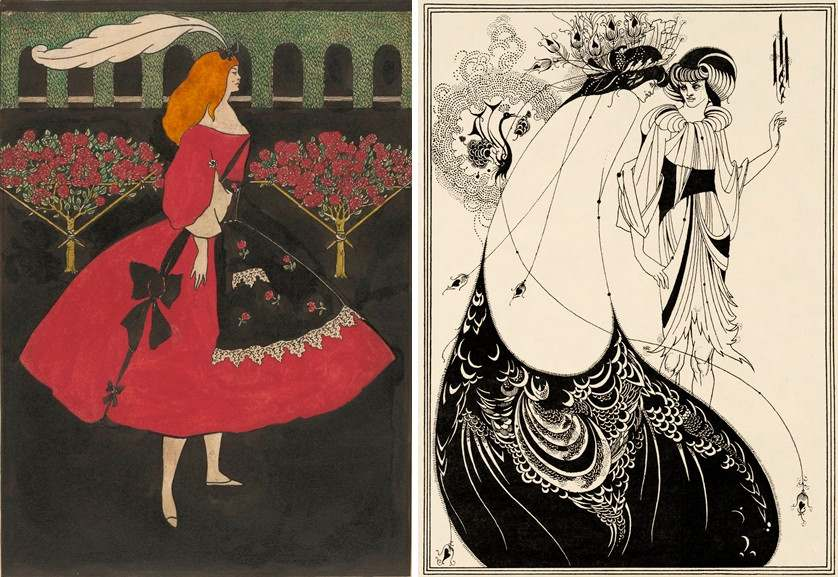 Left Aubrey Beardsley - The Slippers of Cinderella Right Aubrey Beardsley - The Peacock Skirt