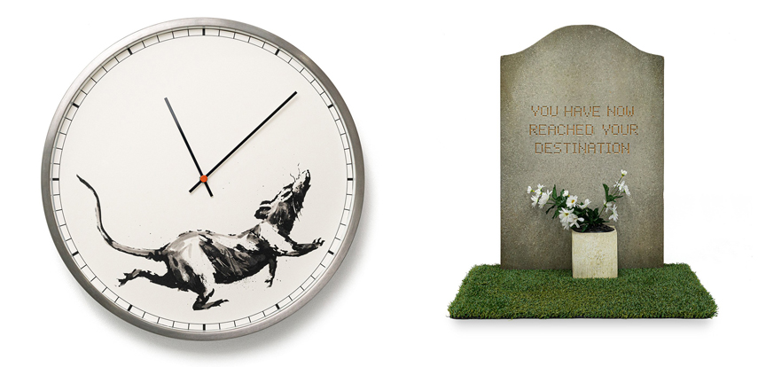 Left Banksy™ Clock Right Banksy™ Tombstone