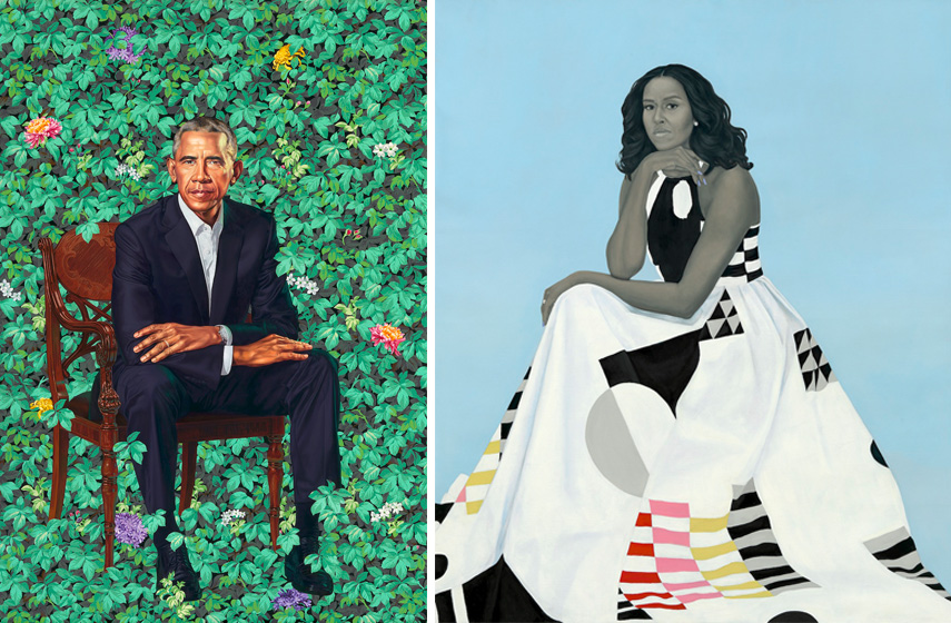 Left Barack Obama by Kehinde Wiley Right Michelle LaVaughn Robinson Obama by Amy Sherald