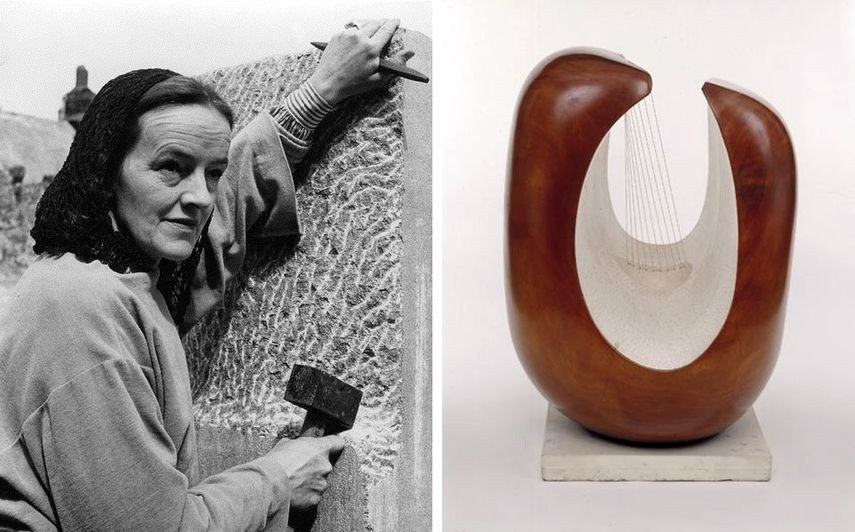 barbara hepworth's abstract works were often produced with a hollow middle. the abstract then became a comment on various dualities and explored the invisible and visible in sculpture.