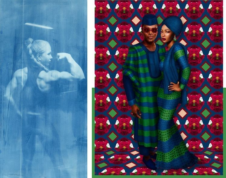 Left Barbie Fitness, 2014 © Thomas Mailaender Right Big Couple Green & Blue, 2015 © Pierre-Christophe Gam