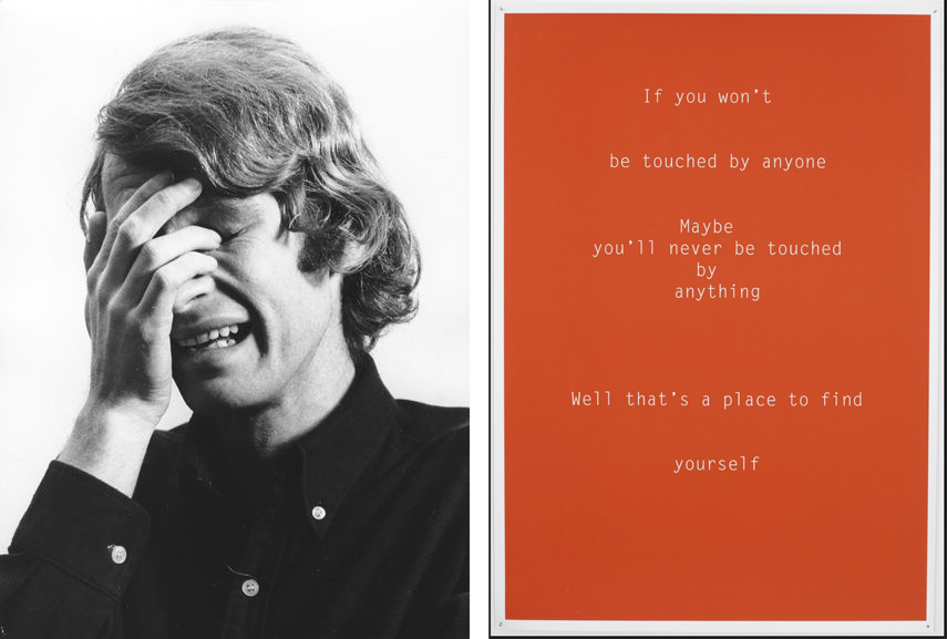 Left Bas Jan Ader – I'm too sad to tell you Right Helen Cammock - Untitled, If You Won't Be Touched Shouting in Whispers