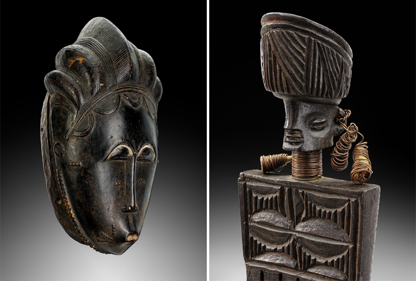 Left Baule Mask Right Lwena comb