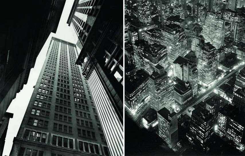 Left Berenice Abbott - Canyon Broadway and Exchange Place Right Berenice Abbott - Aerial view of New York at Night