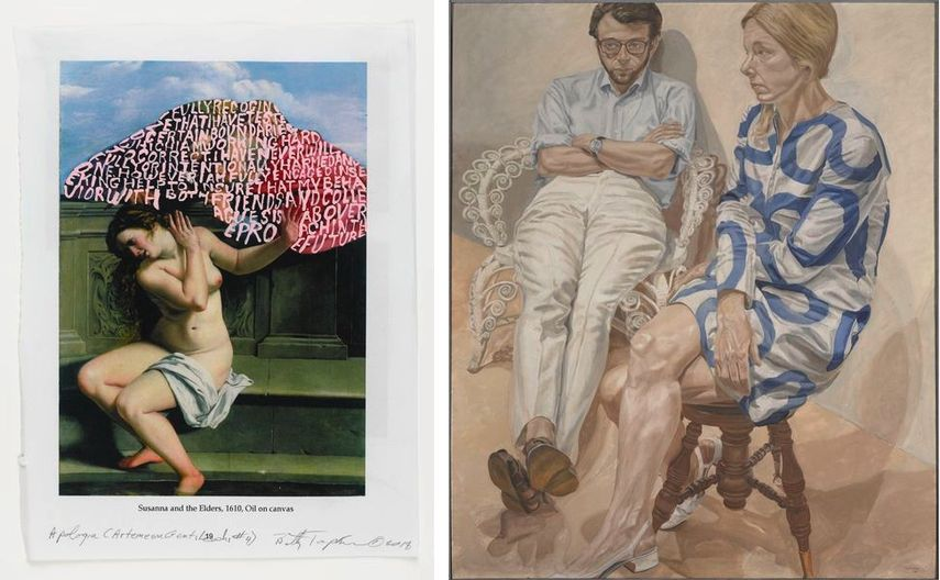 Betty Tompkins - Apologia (Artemesia Gentileschi 4), 2018, Philip Pearlstein - Portrait of Linda Nochlin and Richard Pommer, 1968