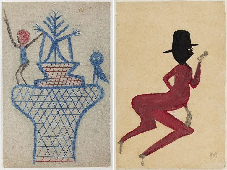 Left Bill Traylor - Untitled Basket Man and Owl Right Bill Traylor - Red Man