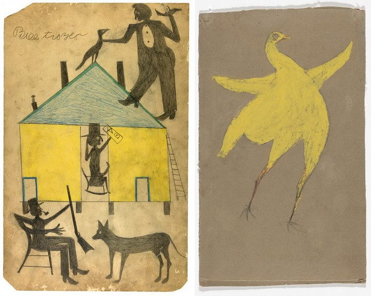 Left Bill Traylor - Untitled Right Bill Traylor - Yellow Chicken