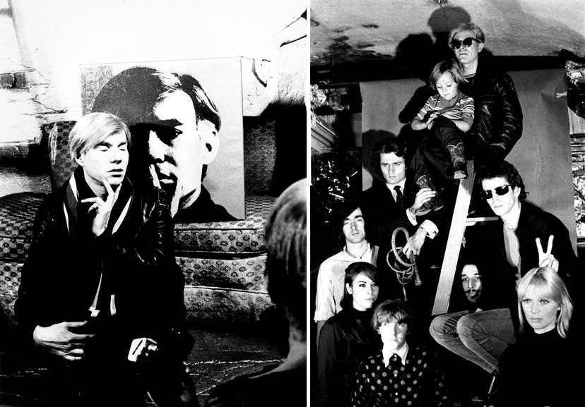 Left Billy Name - Andy Warhol with self portrait, Right Andy Warhol and The Velvet Undreground
