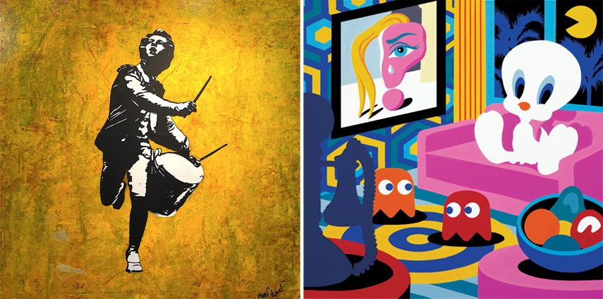 Left Blek le Rat. Galerie Ange Basso Right Speedy Graphito - Ghost Story 2019. Galerie Art Five
