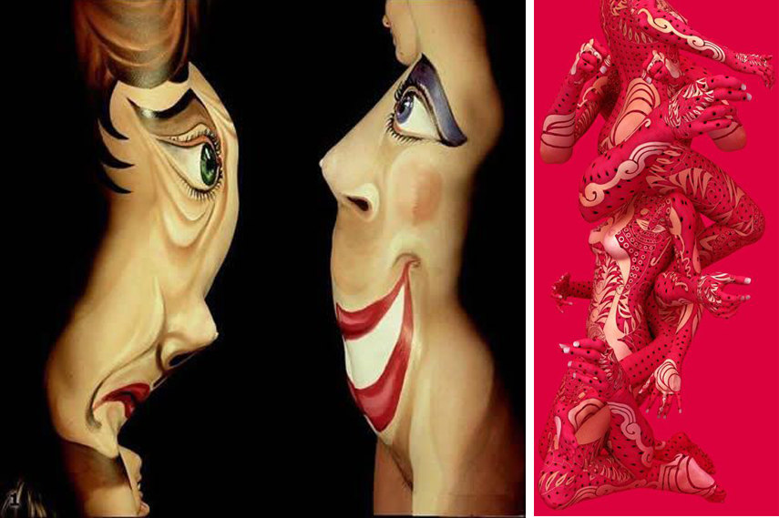 Left- Body Paint - Image via Oddee com; Right- Body Art Sculpture - Photo by Kim Joon N - Image via Sainsulpice unblog fr