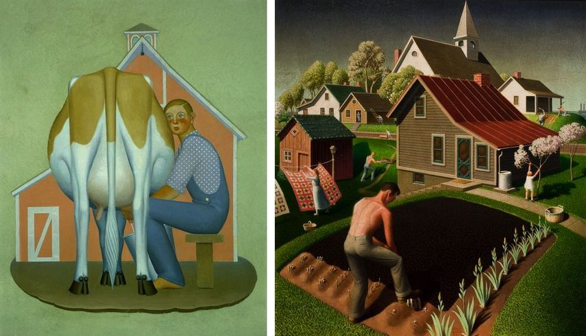 Boy Milking Cow, Spring in Town, 1932; other history paintings depicting home scenes