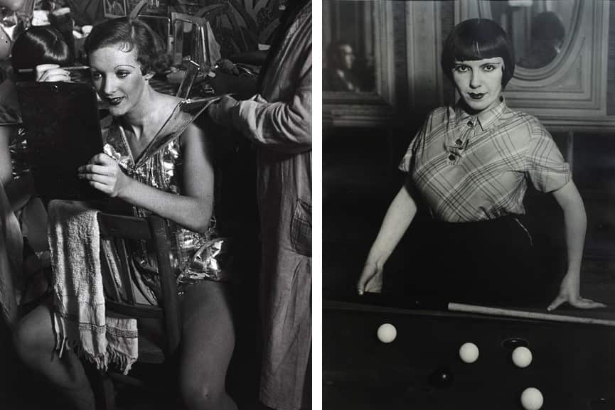 Brassaï - An English girl in her dressing room at the Folies-Bergere, c.1932, A prostitute playing Russian billiards, Boulevard Rochechouart, Montmartre, c. 1932