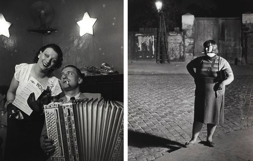 Brassaï - Kiki with her accordion player at the Cabaret des Fleurs, Rue de Montparnasse, c. 1932, Streetwalker near the Place d'Italie, c. 1932