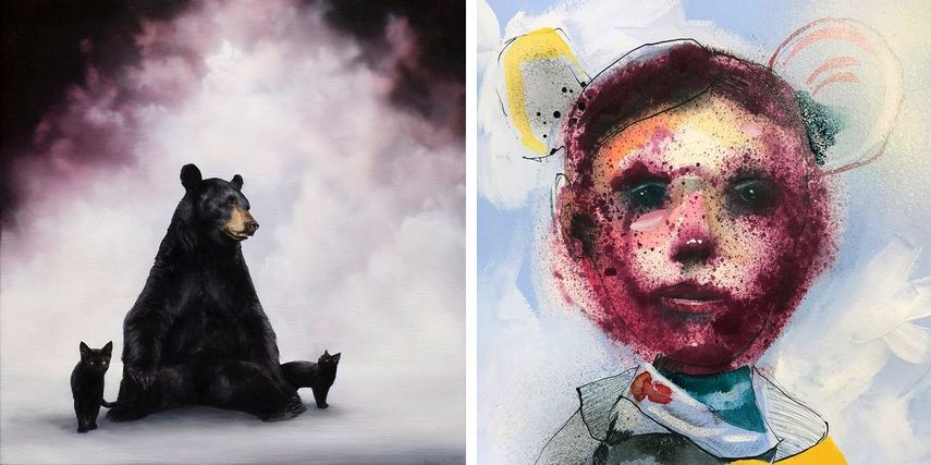 Brian Mashburn - Black Bear With Black Cats, Collin Van Der Slujis Portrait