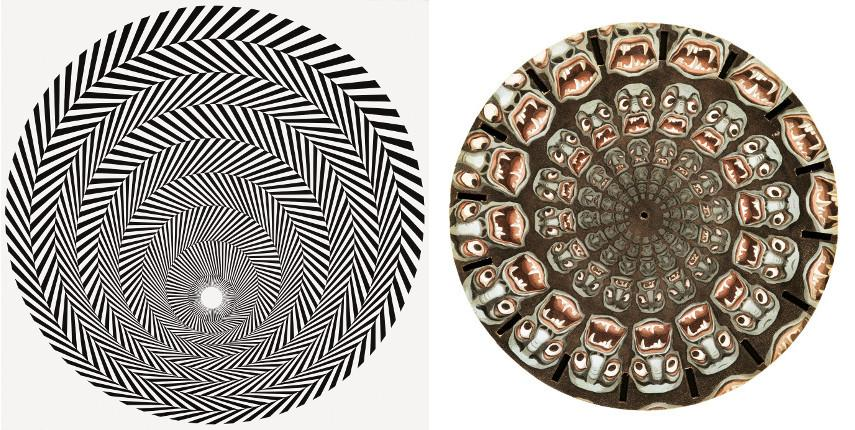 Bridget Riley - Blaze 4, 1964, Ackermann (Hersteller Manufacturer) - Demon − Revolving Disc for Joseph Plateaus Phenakistoscope, 1833
