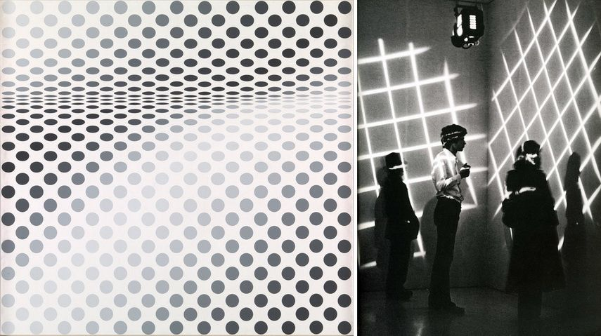 Left Bridget Riley - Hesitate Right Gianni Colombo - After Structures