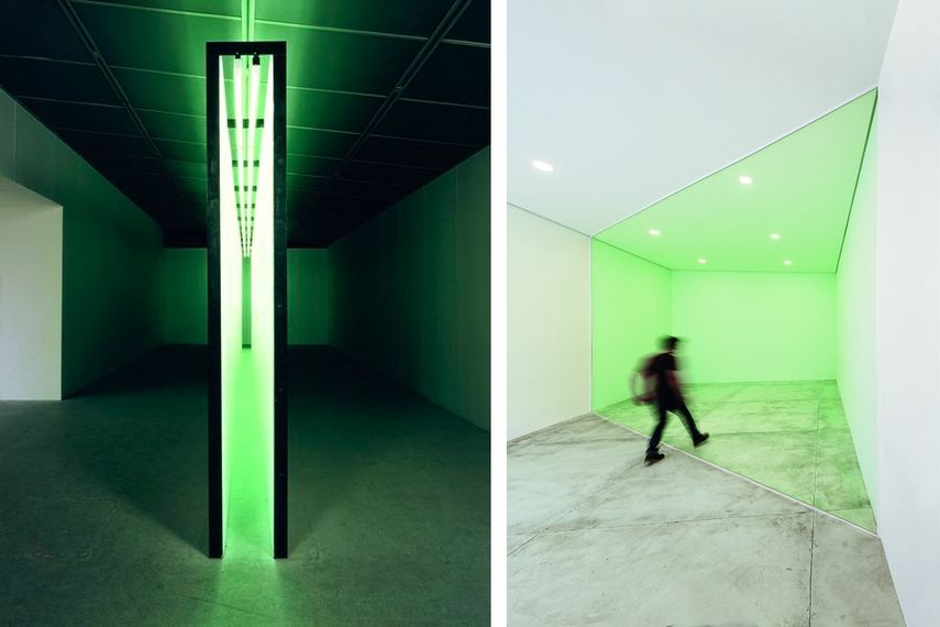 Bruce Nauman - Green Light Corridor, 1970, Marcius Galan - Diagonal Section (Seção diagonal), 2008