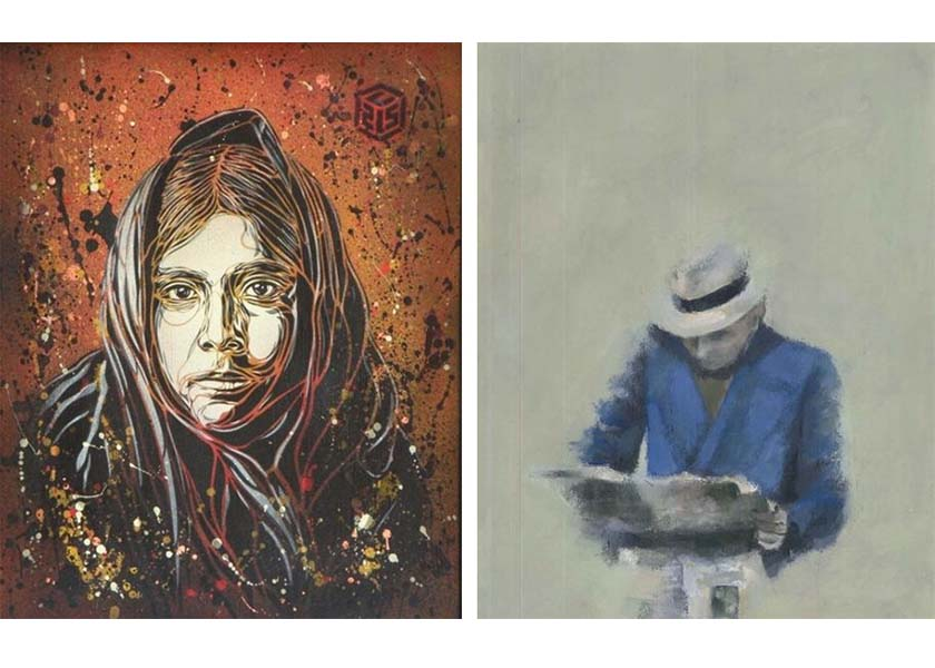 Left- C215 – American native, 2009 Right- Paul de Flers – senza titolo, 2016 french graffiti artists milan gallery exhibition street art