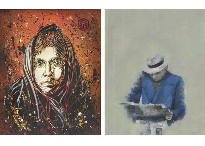Left- C215 – American native, 2009 Right- Paul de Flers – senza titolo, 2016 french graffiti artists milan gallery exhibition street art