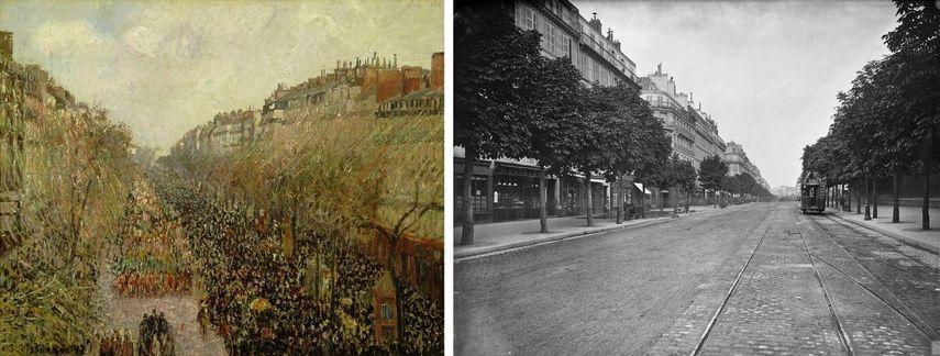 Impressionist Camille Pissarro - Boulevard Montmartre, Mardi Gras, 1897, painting, Charles Marville - Boulevard Saint-Germain, 1875-1877, photograph