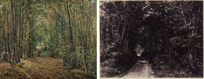 Camille Pissarro - The Woods at Marly, 1871, Eugène Cuvelier - Path in the Forest, 1850-1860