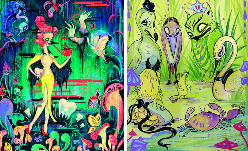 Left - Camille Rose Garcia - A Ghost Moth Serenade, 2014 - Right - Camille Rose Garcia - Caucus Race, 2010 book new snow white way