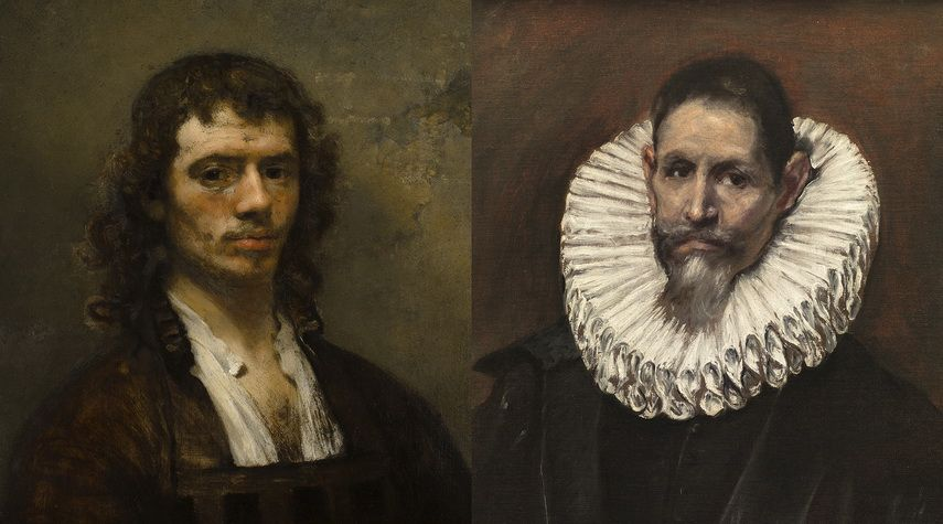 Left Carel Fabritius - Self-Portrait Right El Greco - Jerónimo of Cevallos