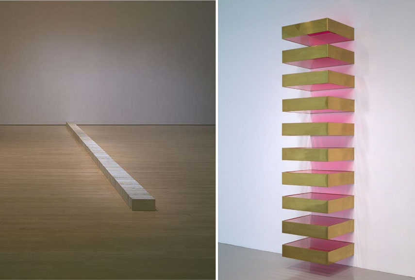 Left: Carl Andre - Lever, 1966 / Right: Donald Judd - Untitled, 1969