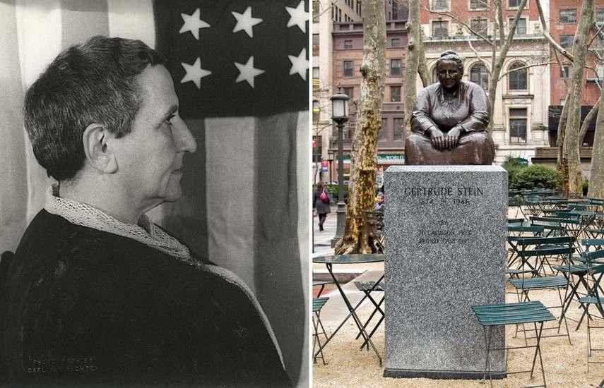 Left Carl Can Vechten Portrait of Gertrude Stein Right Gertrude Stein statue