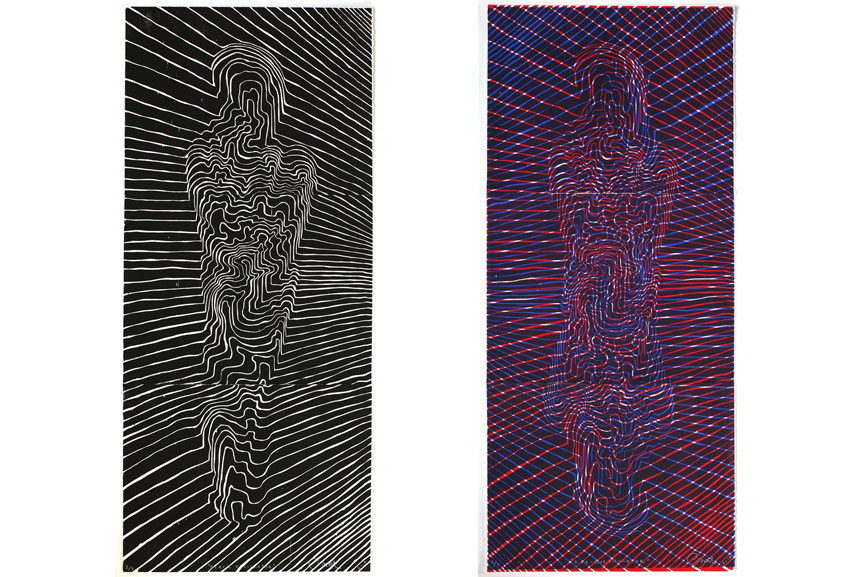 Left Carl Krull - Oscillator Black, 2017, 102 x 67 cm Right Carl Krull -Oscillator Red-Bluel 2017, 102 x 67cm