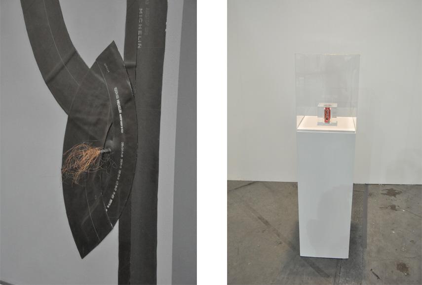 Left: Carol Rama - Spazio Anche Piu Che Tempo, 1970, detail / Right: Giorgio Cugno - Caucacola, Colombia, 2014