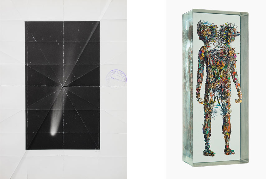 Left: Caroline Corbasson - Bending space, 2016. Folded book pages, 19 x 13 cm. Presented by Galerie l'inlassable, Paris / Right: Dustin Yellin - Psychogeography Study 102, 2016. Glass, acrylic, collage, 35.74 x 13.75 x 7.75 in. Presented by Richard Heller Gallery, Los Angeles
