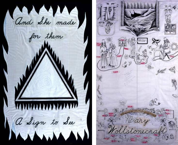 Cartoon for Entryway Banner #2, Mary Wollstonecraft, Gridded Runner Drawing from The Dinner Party, 1975