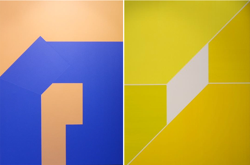 Left Chad Hasegawa - Lean on and Against no.58 (blue), 2017 Right Chad Hasegawa - Lean on and Against no.57 (yellow), 2017