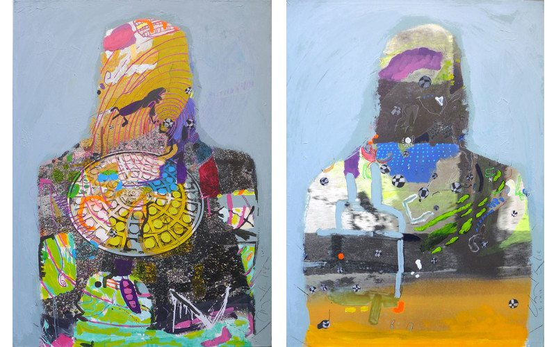 Left Charlelie Couture - Manhole silhouette, 2013, Right Charlelie Couture - Inner portrait in the blue, 2013