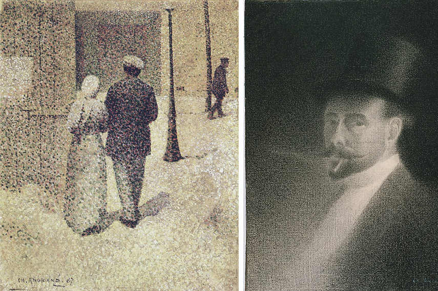 Left: Charles Angrand - Couple in the street, 1887 - Collection of Musee d'Orsay, Paris - Image via Wikipedia.org / Right: Charles Angrand - Self Portrait, 1892 - Image via Wikipedia.org