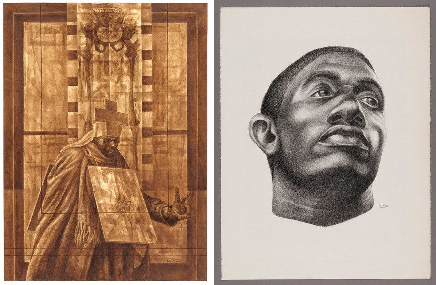 Left Charles White - Black Pope (Sandwich Board Man), 1973 and Gideon, 1951
