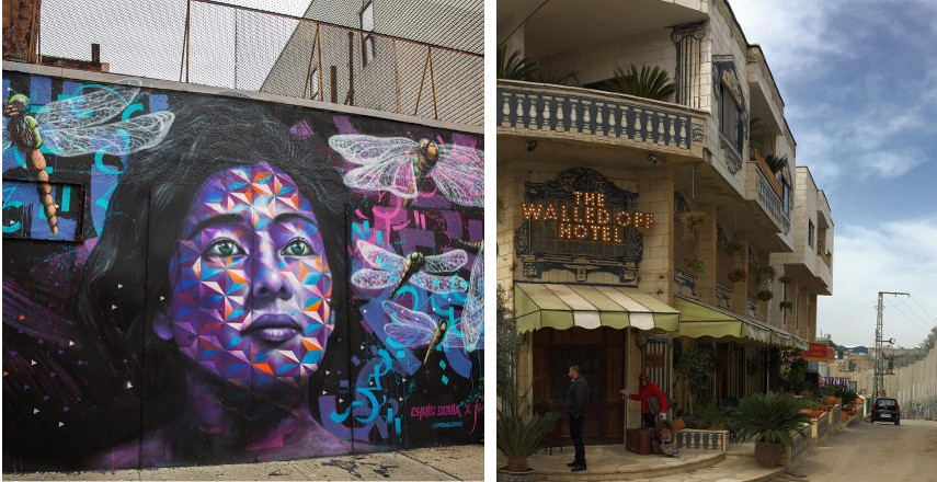 Left: Chris Soria and Joel Artista Graffiti, Photo by Adam Gray / Right: Banksy's Walledoff Hotel in Palestine - Contact the City for privacy rights, no news business site should make you search hard for their home page