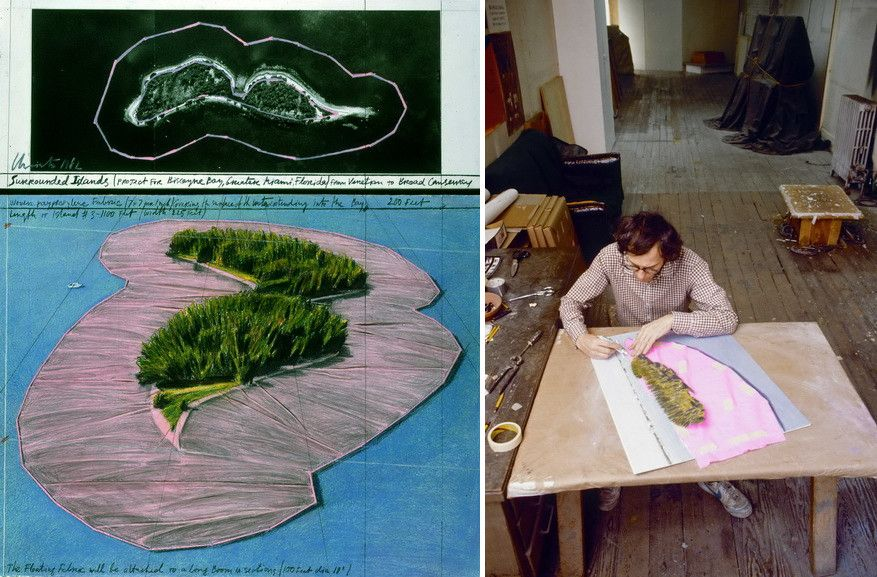 Left Christo - Surrounded Islands Right Christo working on