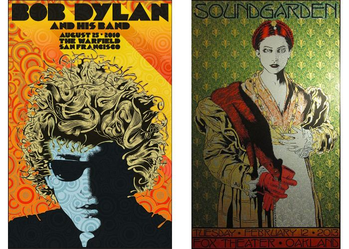 Left Chuck Sperry - Bob Dylan and His Band at The Warfield, Right Chuck Sperry - Soundgarden at The Fox Theater, Oakland