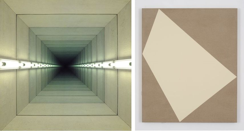 Left: Chul Hyun Ahn - Tunnel IV 2011 / Right: Ivo Ringe – Magic Carpet Titan – Buff, 2016
