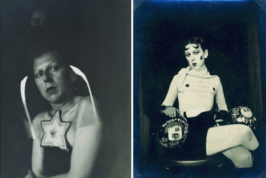Left Claude Cahun - Selfportrait Right Claude Cahun and Marcel Moore - Untitled