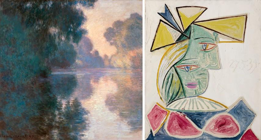 Claude Monet - Matin sur la Seine / Pablo Picasso - Buste De Femme Au Chapeau