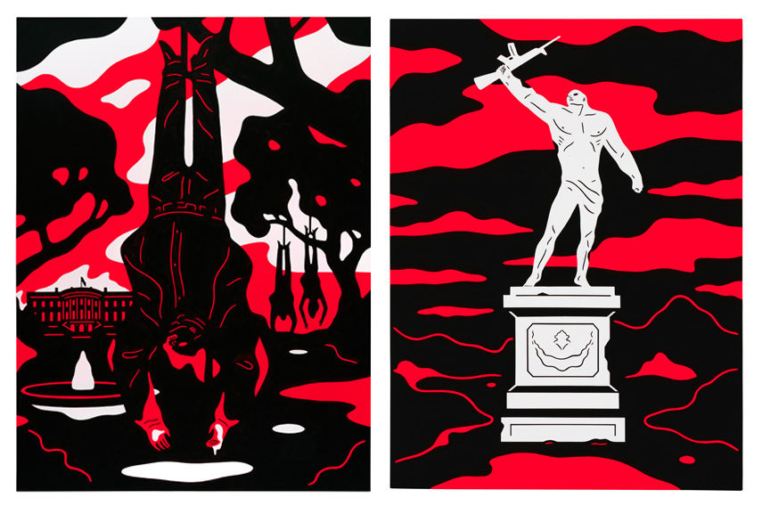 Left Cleon Peterson - Absolute Power Right Cleon Peterson - Monument to Power, Freedom