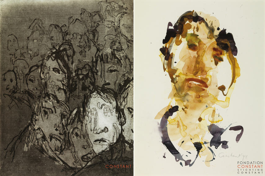 Left- Constant - De menigte (The crowd) 1994 - Photo by Tom Haartsen for the Fondation Constantl; Right- Constant - Visage I 1994 - Images via Stihtungconstant nl