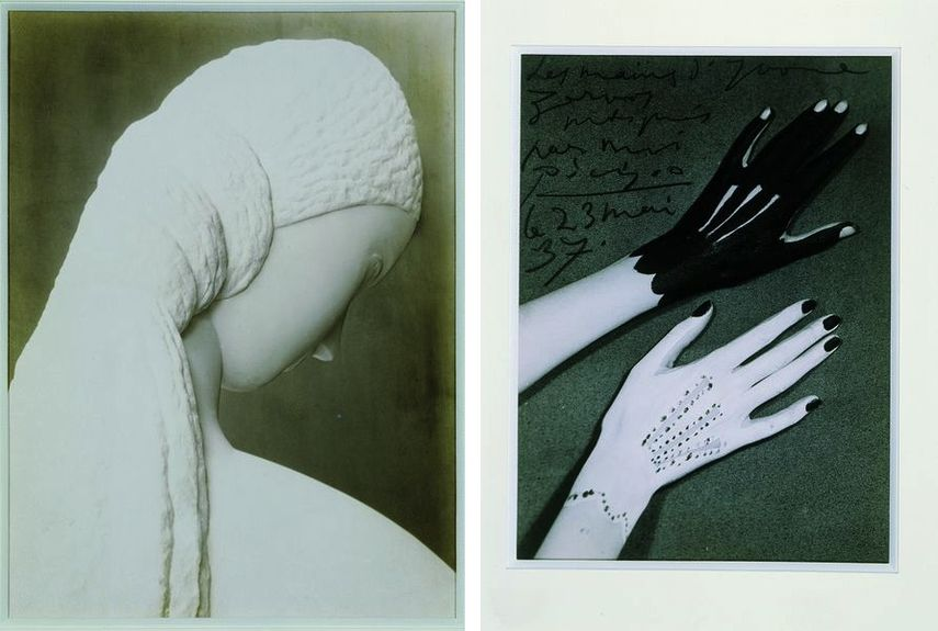 Constantin Brancusi - Woman Looking at Herself in a Mirror (dedicated to Kiki), 1909, Man Ray - Hands of Yvonne Zervos painted by Pablo Picasso, 1937
