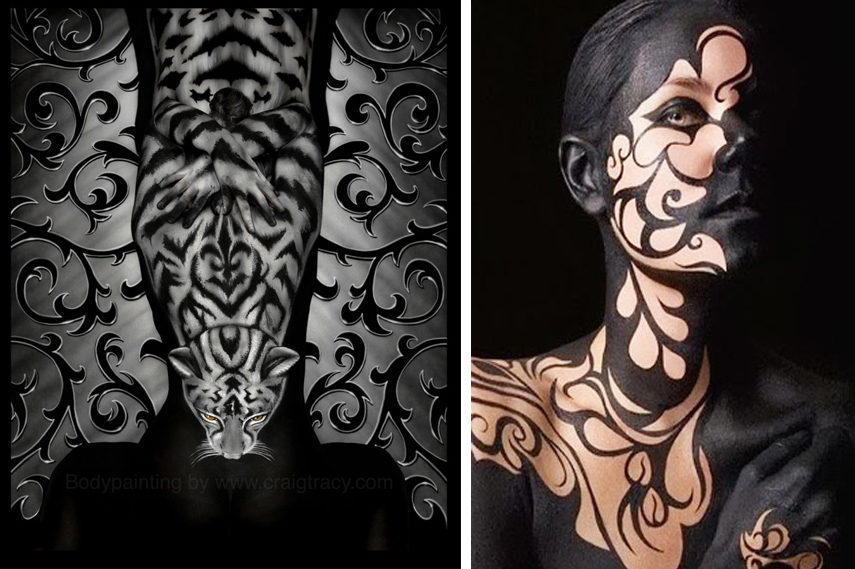 Left- Craig Tracy - Restless - Image via Craigtracy com; Right- Graffiti Body Painting - Image via Mrpilgrim co uk