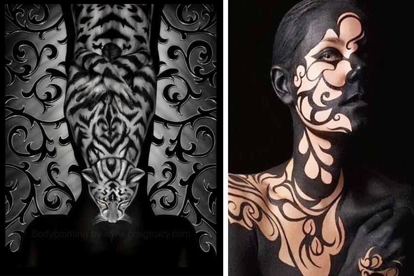 Left- Craig Tracy - Restless - Image via Craigtracy com; Right- Graffiti Body Painting - Image via Mrpilgrim co uk