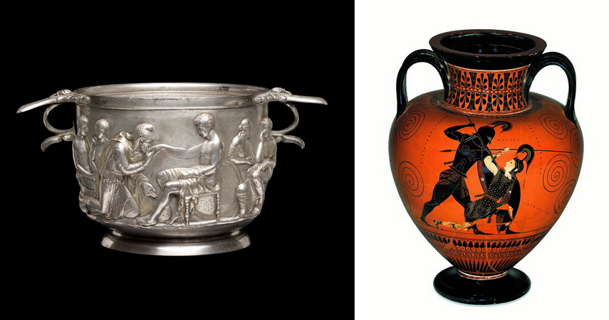 Left Cup with Priam and Achilles Right Troy amphora