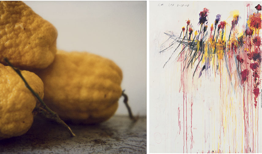 Left Cy Twombly - Lemons, Gaète, 1998 Right Cy Twombly - Coronation of Sesostris, 2000